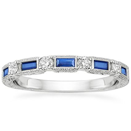 18K White Gold Vintage Sapphire and Diamond Ring from Brilliant Earth