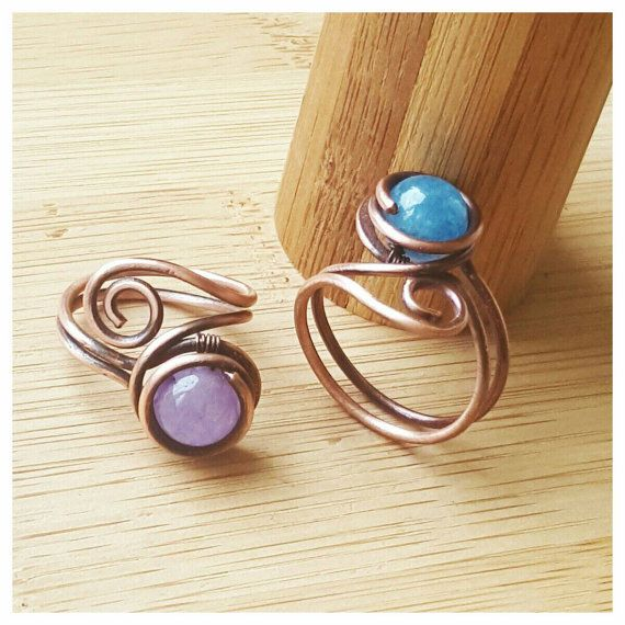 Simple wire wrapped azurite ring/wire wrapped by FromRONIKwithLove