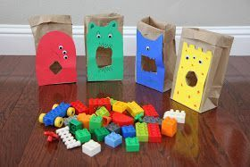 Lego monster color sorting activity for toddlers. Feed the Monster