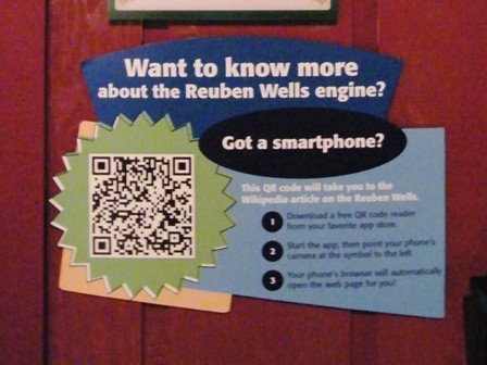 """""""QR codes + Wikipedia = QRpedia.""""   July 29, 2011   The Children's Museum is the first museum in the United States to implement QRpedia codes into exhibits. These QR codes direct you to the Wikipedia article about a collections object. QRpedia codes can detect the language in your phone & direct you to the Wikipedia article in that language."""