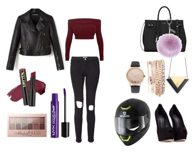 """""""soirée fast and moto<3"""" by jojo14130 on Polyvore featuring mode, Giuseppe Zanotti, Frame, Yves Saint Laurent, Helen Moore, Maybelline, Charlotte Russe et Jessica Carlyle"""