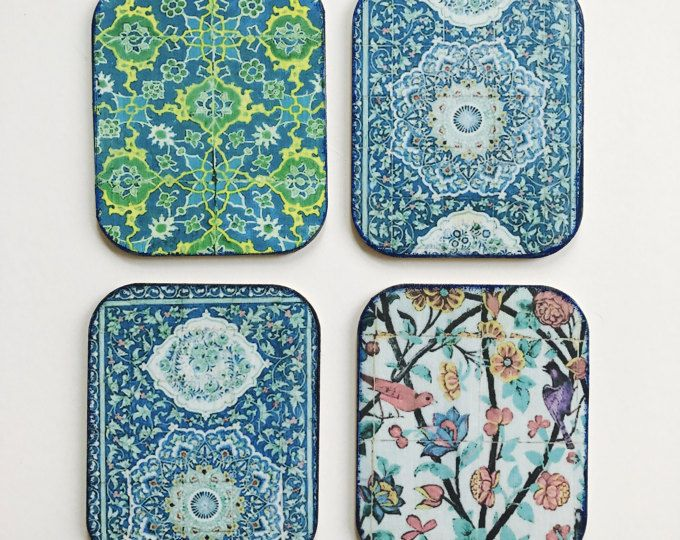 Set of four handmade drink coasters, Drink coasters, Blue coasters, colourful coasters