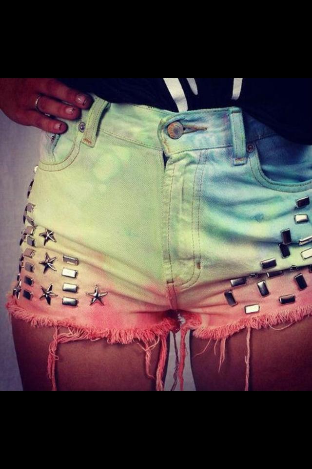 DIY ombre rainbow shorts