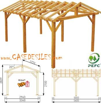 Structure de carport en bois 18.03mc 0700050 en Vente Flash