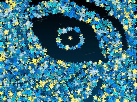 Animationer med stjärnor som flödar med underbar musik