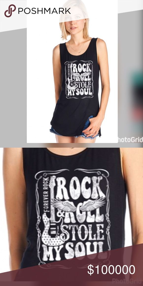 Black Rock & Roll long tank with side split Soft stretchy material 95 Rayon 5 Spandex- super cute! 😎 Tops Tank Tops