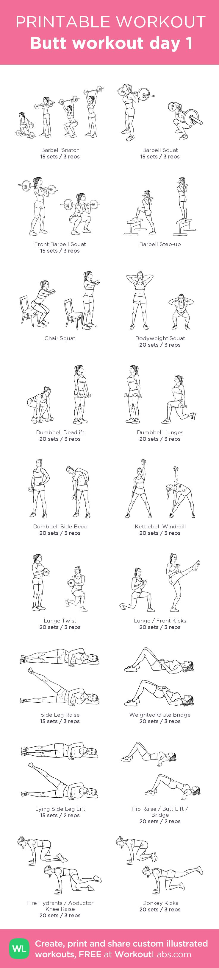 Butt workout day 1: my visual workout created at WorkoutLabs.com • Click through to customize and download as a FREE PDF! #customworkout