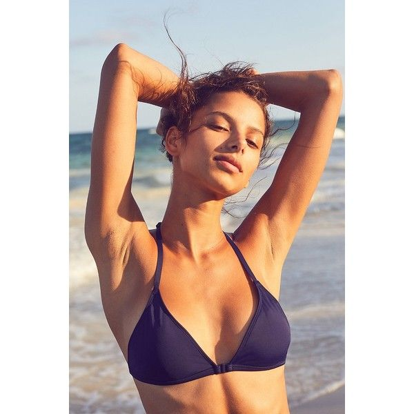 Out From Under Triangle Racerback Bikini Top ($25) ❤ liked on Polyvore featuring swimwear, bikinis, bikini tops, strappy bikini, strap bikini, racerback bikini top, swim tops and racerback tankini top