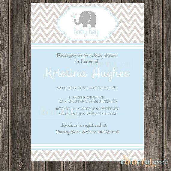 Chevron Elephant Shower Invitation, Elephant, Blue, Grey, Chevron, Boy, Baby Shower Invite, Baby Shower Invitation (#115)