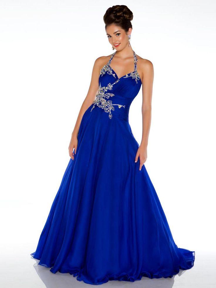 halter handmade beaded royal blue 2013 long prom dresses