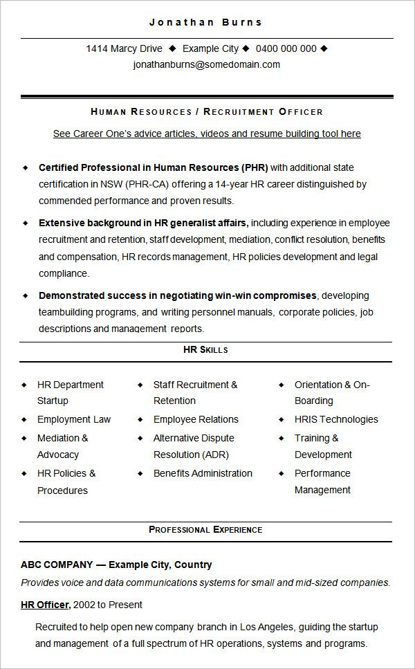 Resume Examples Human Resources Human Resources Resume Hr Resume Sample Resume Templates