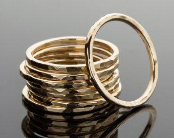 14k oro riempito accatastamento anello, Anelli impilabili, martellati anello distanziale, accatastamento anelli, martellati oro 14k riempimento, anello, anello martellato di impilamento