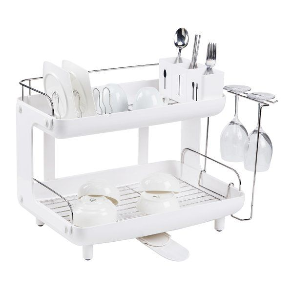 7 Piece Curved Two Story Dish Rack Set Dish Racks Dish Rack Drying Curved Kitchen