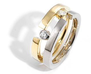 18ct Yellow & White gold Puzzle ring with diamonds
