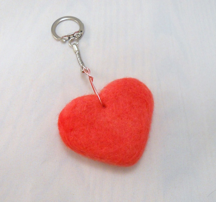Pink Heart Needle Felted Key Chain