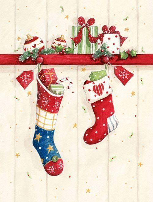 Открытка с сапожками новогодняя, для почтовых