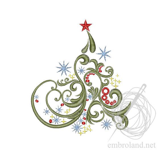 Christmas Tree Machine Embroidery Design Instant Download