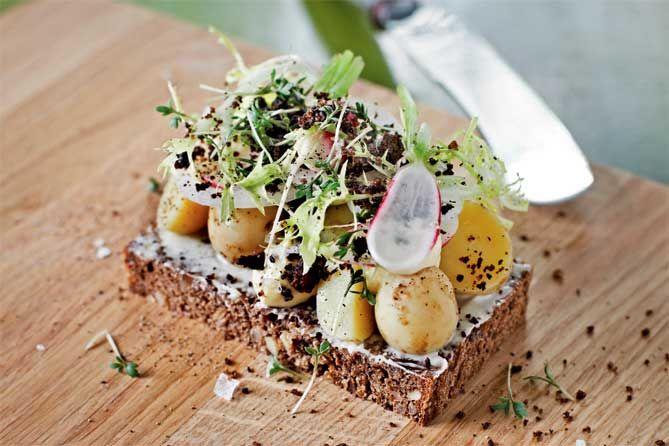 Smørrebrød - open faced sandwich on rye bread with new potatoes, malt and radishes
