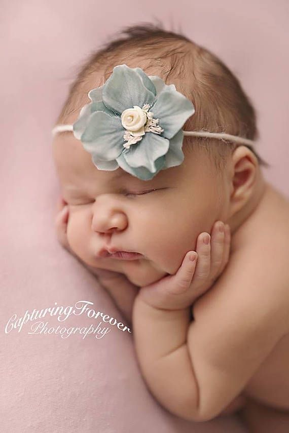 Baby Tieback Headband Newborn Prop Baby Girl Prop Blue /& Cream Newborn Tieback, Newborn Headband Baby Headband