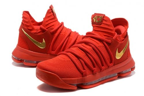 cheap for discount 970fa a49e3 Popular New KD 10 Kevin Durant Shoes 2017 University Red Gold