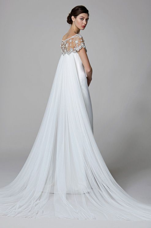 The frothy tulle of this Watteau train gives this Marchesa gown an ethereal feel.