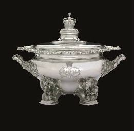 A ROYAL SOUP TUREEN FROM THE SERVICE OF KING WILLIAM IV AND QUEEN ADELAIDE A WILLIAM IV SILVER SOUP-TUREEN, COVER AND LINER, MARK OF WILLIAM BATEMAN, LONDON, 1836, RETAILED BY RUNDELL, BRIDGE AND RUNDELL, FROM THE COLLECTION OF H.R.H. THE PRINCE HENRY, DUKE OF GLOUCESTER KG, KT, KP.