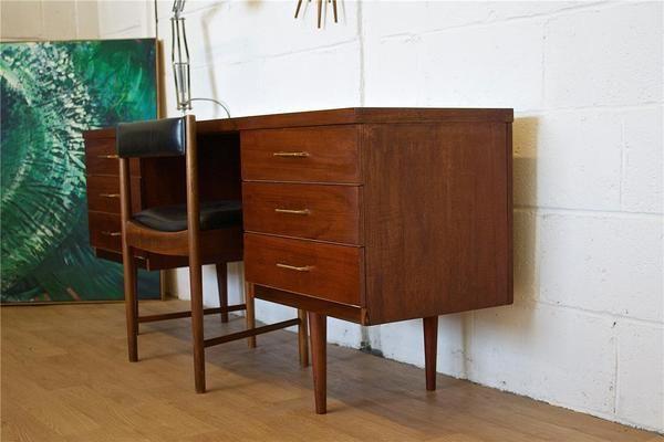 Mid Century Retro Danish Style Teak Austinsuite Desk Dressing Table | Vinterior   #20thcentury #midcentury #modern