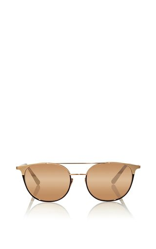 Leather Lined Aviator Sunglasses By Linda Farrow Luxe  by LINDA FARROW Now Available on Moda Operandi