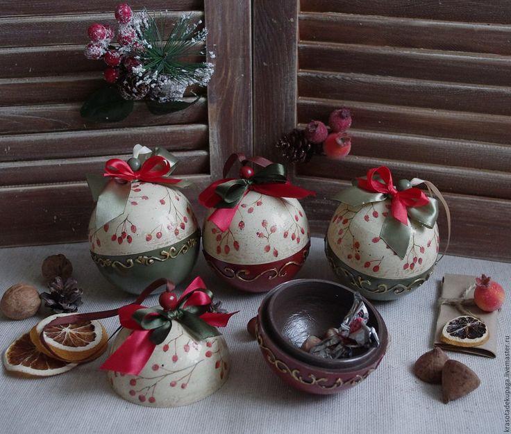 Купить Елочный шар, декупаж - комбинированный, елочные игрушки, елочные украшения, елочная игрушка