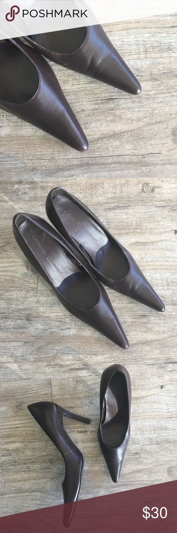 "CHINESE LAUNDRY Genuine Leather Heels Adorable and comfortable. Pointy toe. Genuine leather and soft. A little wear but still in beautiful shape. 3.5"" heel. Chinese Laundry Shoes"