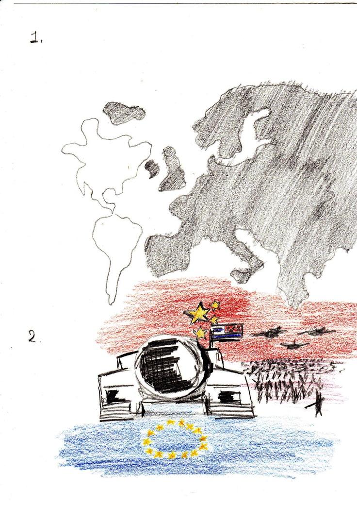 2. Meest voor de hand ligt het beeld van een Amerikaanse legertank met Amerikaanse vlag erop. Het enorme Rode Leger van China op de achtergrond, in de verte doemt deze grootmacht in groter getal dan de Amerikaanse tank op. Europa wordt onder de voet gelopen… getuige de vlag waar de tank overheen rijdt en het leger plat marcheert/bombardeert.