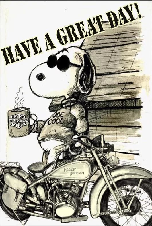 SNOOPY Have a great day Harley Davidson Bike