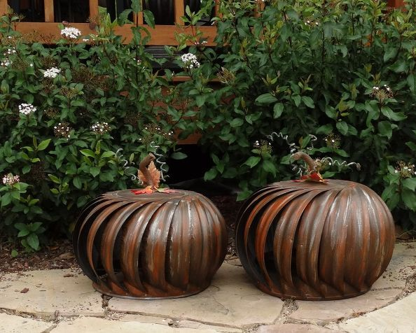 Wind Turbines Repurposed as Patio Pumpkins #homedecor #gardenideas