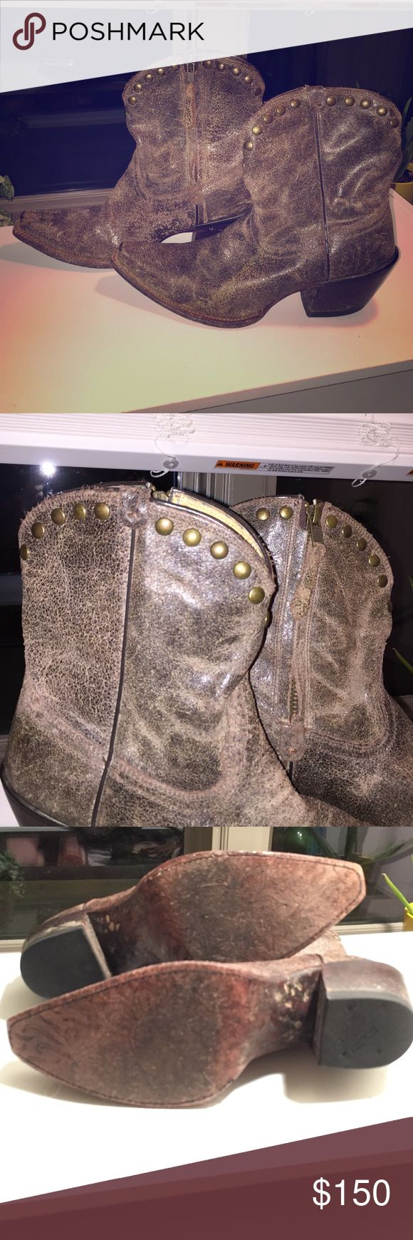 Tony Lama short cowboy boot with stud accent Authentic Tony Lama short cowboy boot. Brown distressed leather with stuff accent and inside zipper. Size 7 1/2 Pointy toe and 1 inch heel. Excellent condition. Lightly worn. 👢 Tony Lama Shoes Ankle Boots & Booties