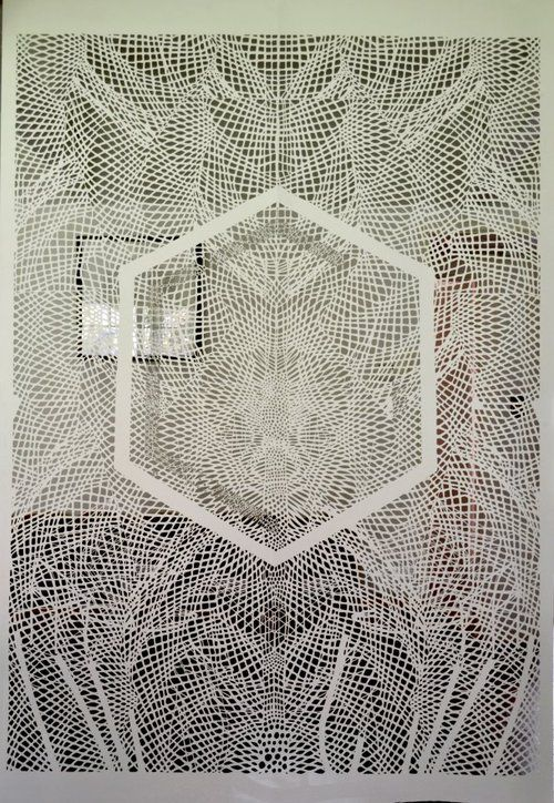 """Tahiti Pehrson    """"complex geometrical patterns in his hand-cut paper sculptures"""""""