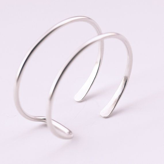 Silver wire cuff streamlined sterling silver by bluehourdesigns