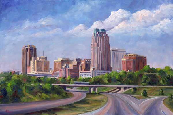 Raleigh North Carolina Skyline Oil Painting on Canvas