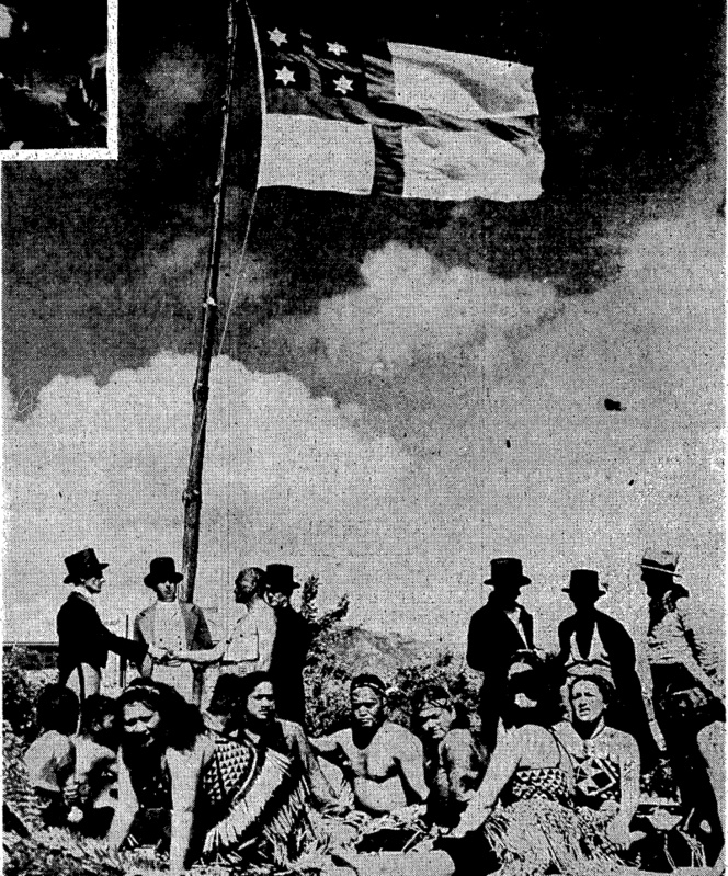 "Maori andVPdkeha shaking hands beneath the flag hoisted on the beach at of seklers on the Tory,-the second scene of .the p . ;.•...""...•.■.:..> .: /:•..■..•;.'■■■■.■ .';':'"" ■ Recreation Ground^ : ■':'.' ■""■■..''."",','^'-■■"".'^'■: ■;''.^'%VV/;;;-./;:;. (Evening Post, 23 January 1940)"