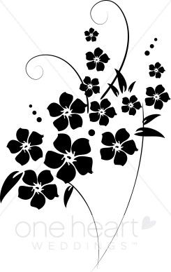 Free Clip Art Black and White Flowers | flower flourishes ...