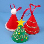 Craft project: Paper in a simple cone shape can be made into an ornament in the form of a miniature Christmas tree. With just a few standard supplies, you and your children can make and decorate these tiny Christmas trees.