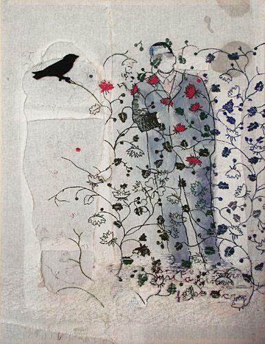 Hinke Schreuders - The Black Bird, 2006. Acrylic yarn and felt on canvas,