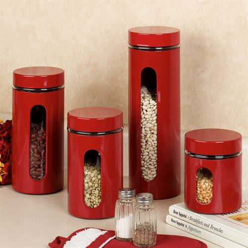 Superb Palladian Red Window Kitchen Canister Set