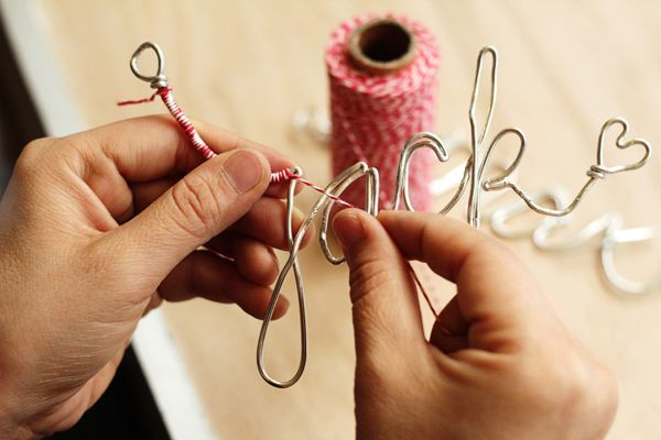 personalized wire ornaments - I definitely love the look even without wrapping them in yarn!