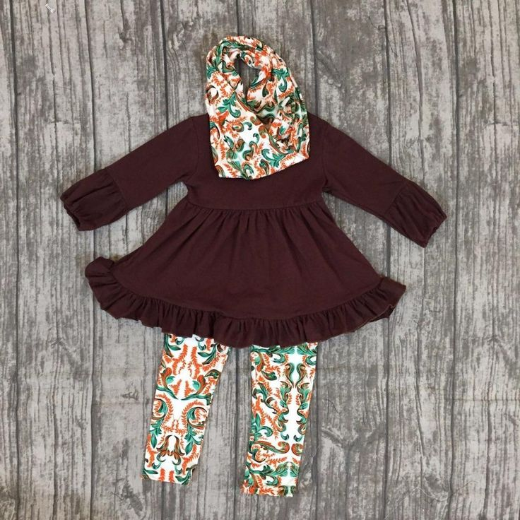 Green and Orange Damask Ruffle Outfit 3PC