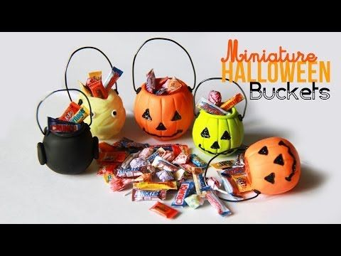 DIY How to make miniature Halloween buckets and candyHalloween Bucket Charms - Miniature Candy with Polymer Clay