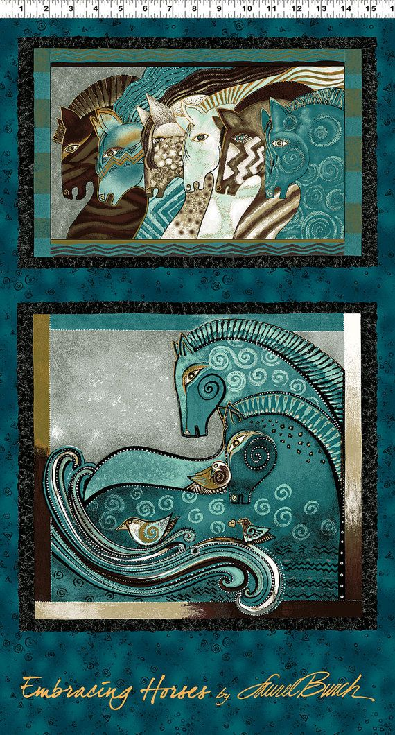 Hey, I found this really awesome Etsy listing at https://www.etsy.com/listing/220649179/laurel-burch-teal-embracing-horses
