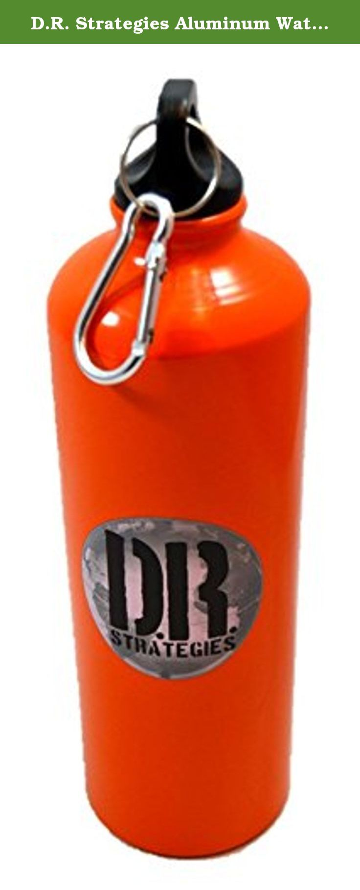 D.R. Strategies Aluminum Water Bottle, 750mL, 12-pack. Lightweight aluminum water bottle by D.R. Strategies. Capacity: 750mL. Black plastic screw cap with an aluminum carabiner for easy carrying. This is a pack of 12 bottles.