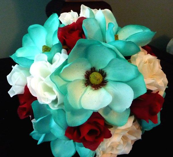 Teal, Brown & Cream Bridal or Bridesmaid Bouquet ....custom designed by Toni in Silks with our signature pearl wrapped handle and satin underlay.