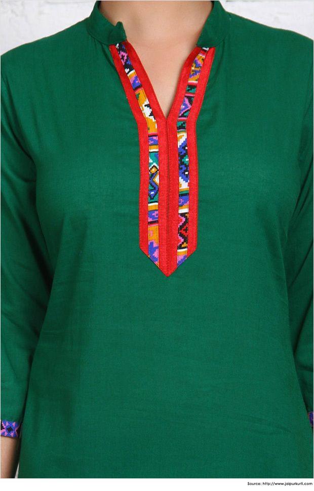 Fashionable collar neck designs for kurtis kurti