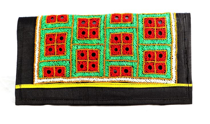 Antique Handmade clutch this type of Clutches are made up of Cotton and having 2 chains inner and outer one.
